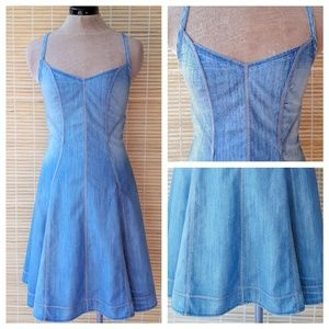 Armani Exchange sleeveless fit & flare jean dress